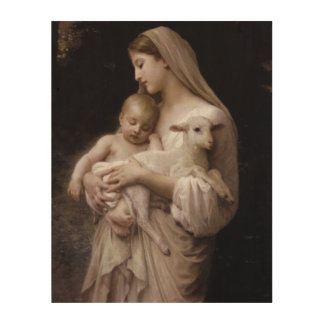 JESUS, MARY AND THE LAMB WOOD WALL ART