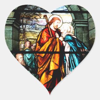 Jesus & Mary Heart Sticker