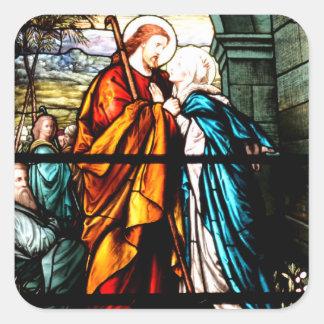 Jesus & Mary Square Sticker