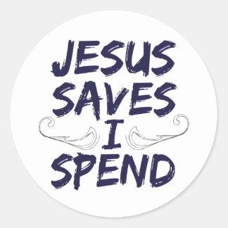 Jesús me ahorra pasa pegatina redonda