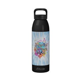 Jesús me ama, acuarela en colores pastel botella de agua