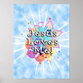 Jesús me ama, acuarela en colores pastel impresiones