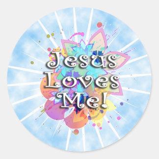 Jesús me ama, acuarela en colores pastel etiquetas redondas
