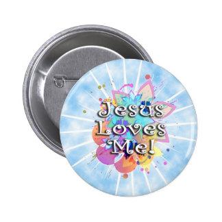 Jesús me ama, acuarela en colores pastel pin