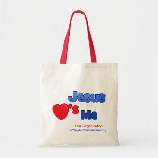 Jesús me ama bolsa tela barata