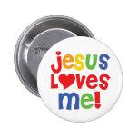 Jesús me ama botón (el personalizable) pin