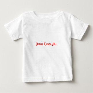 Jesús me ama camiseta del bebé