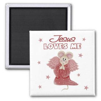 Jesús me ama, chica imán cuadrado