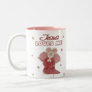 Jesús me ama, chica taza de dos tonos