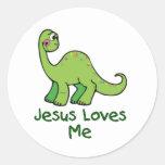Jesús me ama Dino Etiquetas Redondas