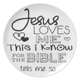 Jesús me ama esto que sé platos para fiestas