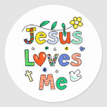 Jesús me ama etiquetas redondas