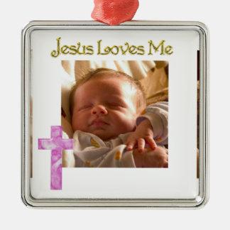 Jesús me ama foto adorno cuadrado plateado