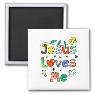 Jesús me ama imán cuadrado