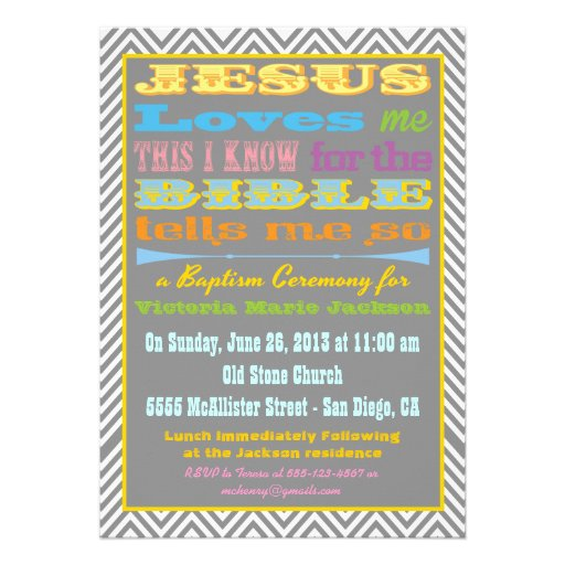 Jesús me ama invitación del bautismo/del bautizo