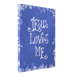 Jesús me ama impresión en tela