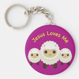 Jesús me ama llavero cruzado de las ovejas del