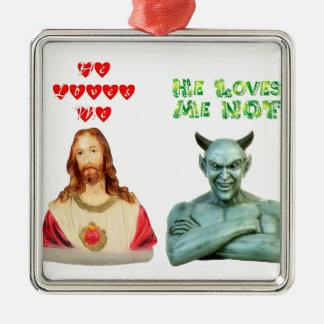 Jesús me ama… los amores satan yo no… adorno cuadrado plateado