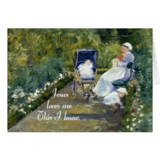 Jesús me ama los niños en un vintage del jardín tarjeta de felicitación