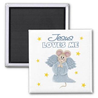 Jesús me ama, muchacho imán cuadrado