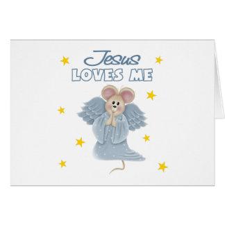Jesús me ama, muchacho tarjeta de felicitación