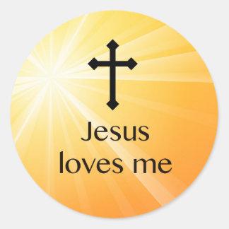 Jesús me ama pegatina anaranjado cruzado
