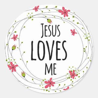 Jesús me ama pegatina blanco floral de la