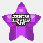 Jesús me ama pegatina en forma de estrella