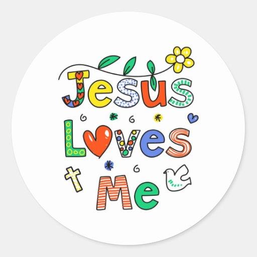 Jesús me ama pegatina redonda