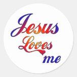 Jesús me ama pegatinas redondas