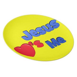 Jesús me ama placa plato para fiesta