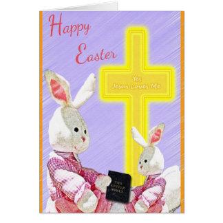 Jesús me ama sí los conejitos w/Bible y cruz Tarjeta De Felicitación