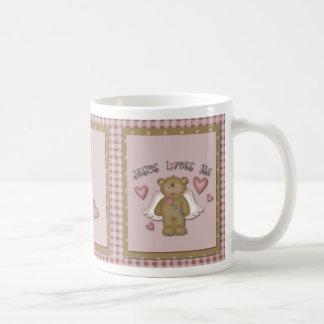 Jesús me ama taza del ángel del oso de peluche