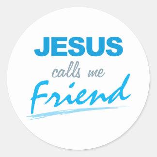 Jesús me llama amigo pegatina redonda