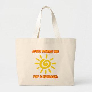 Jesús me quiere para un rayo de sol bolsa tela grande