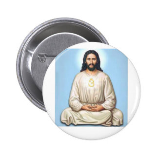 Jesús Meditating con OM Pin Redondo 5 Cm