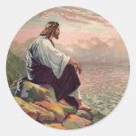 Jesus Meek and Mild Round Stickers