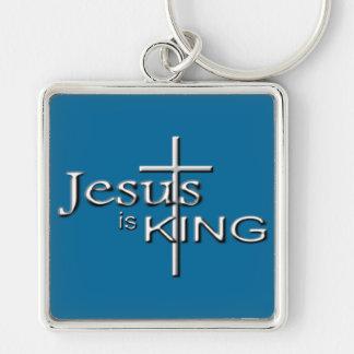 Jesús metálico es REY Llavero Cuadrado Plateado