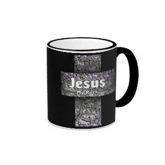 Jesús mi roca taza de dos colores