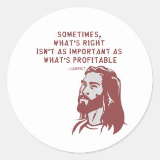 Jesus misquote classic round sticker