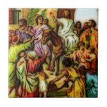 Jesús monta el burro en Jerusalén Azulejos Ceramicos