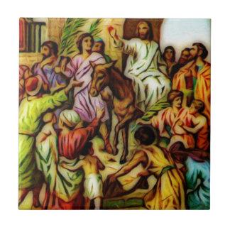 Jesús monta el burro en Jerusalén Azulejo Cuadrado Pequeño