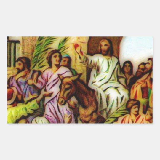 Jesús monta el burro en Jerusalén Pegatina Rectangular