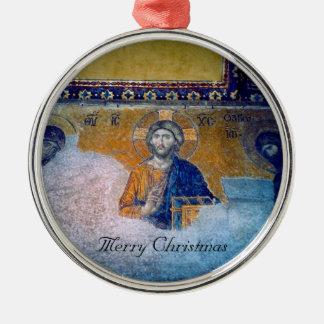 jesus mural chrsitmas round metal christmas ornament