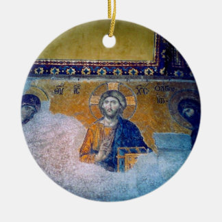 jesus mural Double-Sided ceramic round christmas ornament
