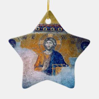 jesus mural star Double-Sided star ceramic christmas ornament