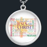 """JESUS NAME ABOVE ALL NAMES SILVER PLATED NECKLACE<br><div class=""""desc"""">A beautiful silver necklace displaying the many awesome names associated with the LORD Jesus Christ of Nazareth.</div>"""