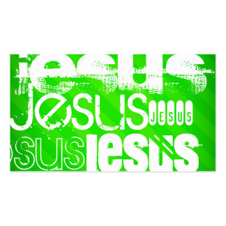 Jesus; Neon Green Stripes Double-Sided Standard Business Cards (Pack Of 100)
