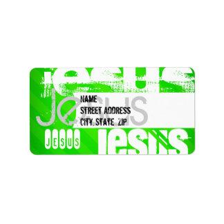 Jesus; Neon Green Stripes Address Label