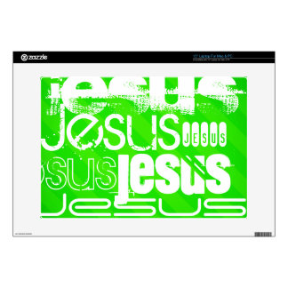Jesus; Neon Green Stripes Laptop Skin